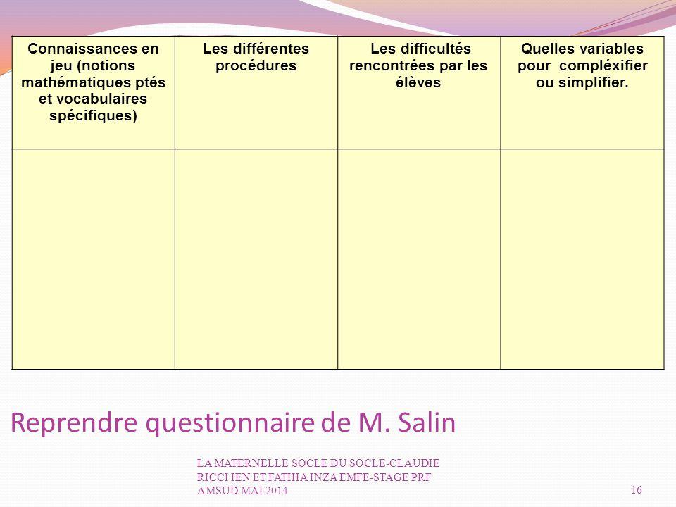 Reprendre questionnaire de M. Salin