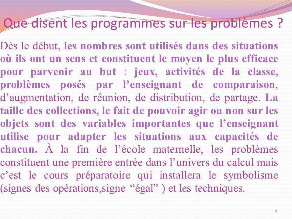 Que disent les programmes sur les problèmes