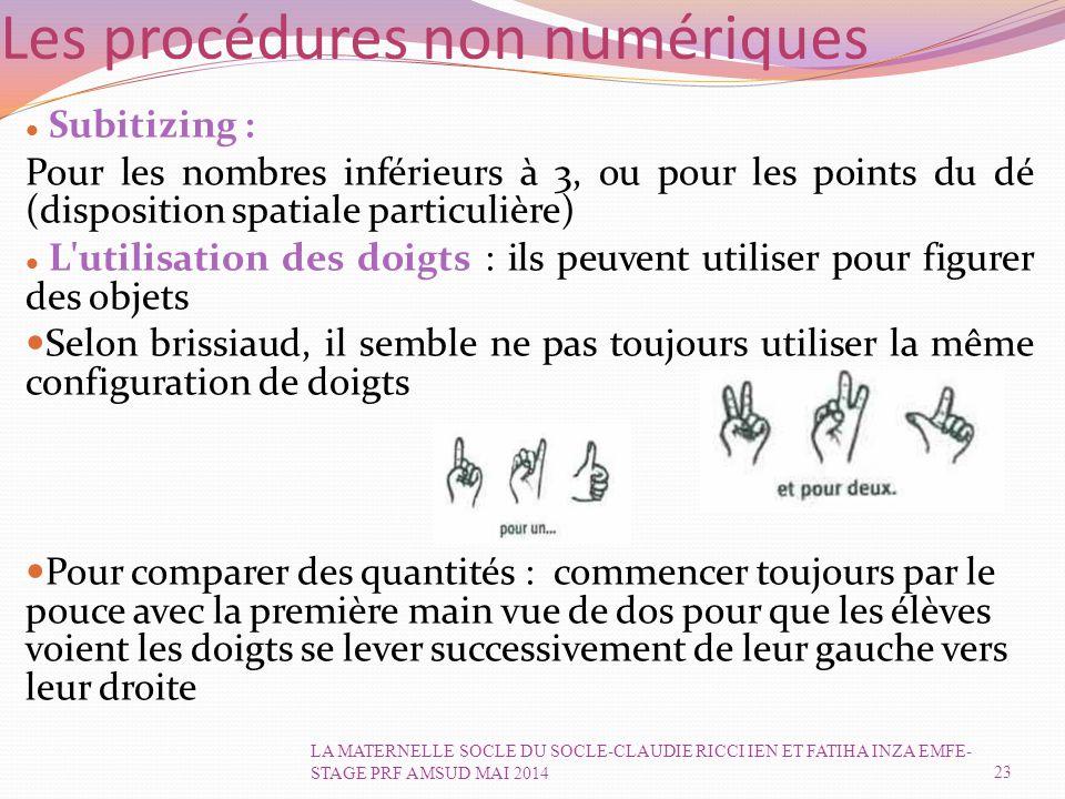 Les procédures non numériques