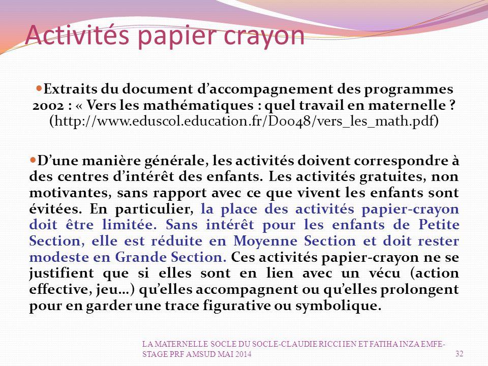 Activités papier crayon