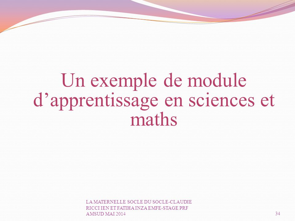 Un exemple de module d'apprentissage en sciences et maths