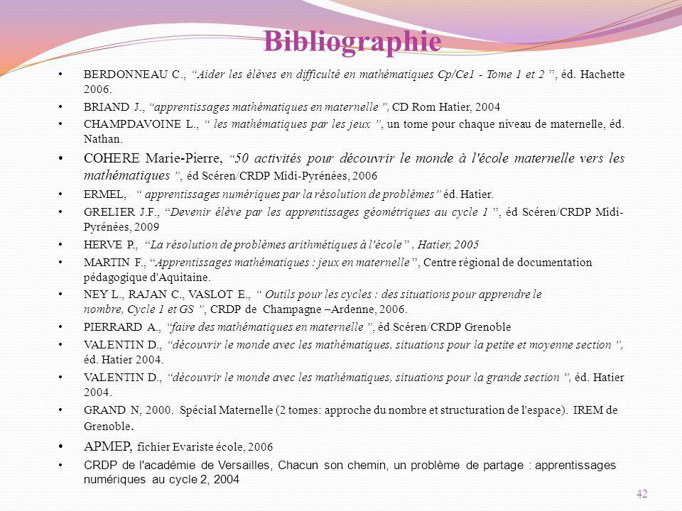 Bibliographie BERDONNEAU C., Aider les élèves en difficulté en mathématiques Cp/Ce1 - Tome 1 et 2 , éd. Hachette 2006.