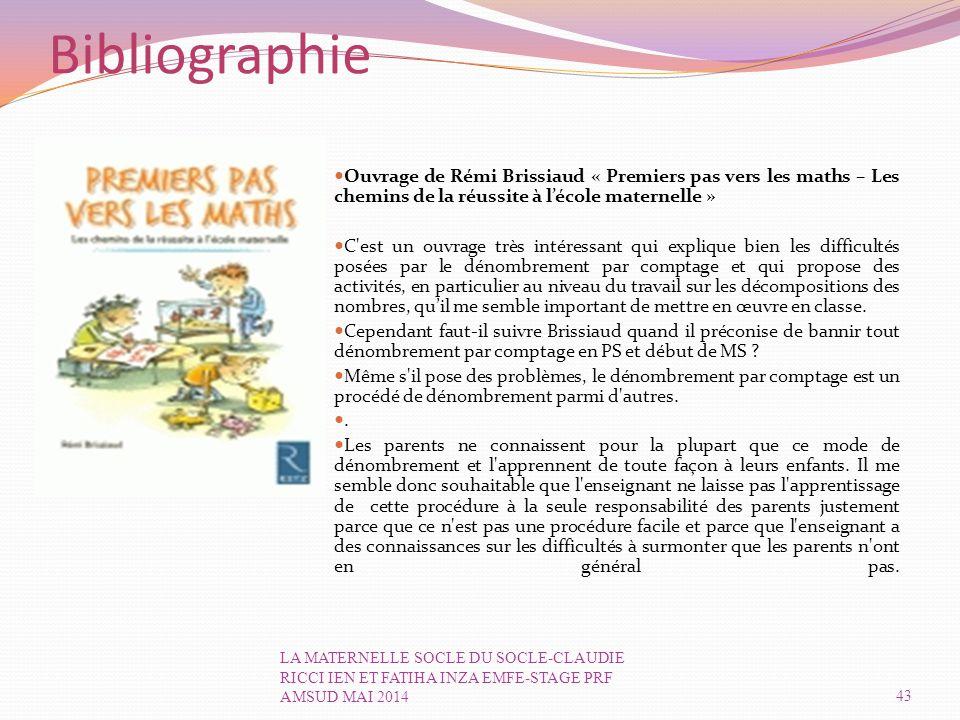 Bibliographie Ouvrage de Rémi Brissiaud « Premiers pas vers les maths – Les chemins de la réussite à l'école maternelle »