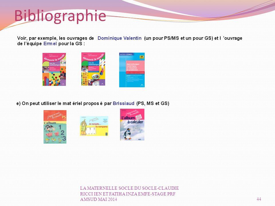 Bibliographie LA MATERNELLE SOCLE DU SOCLE-CLAUDIE RICCI IEN ET FATIHA INZA EMFE-STAGE PRF AMSUD MAI 2014.