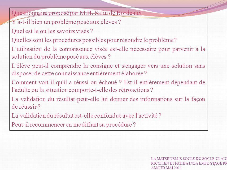 Questionnaire proposé par M.H. Salin de Bordeaux