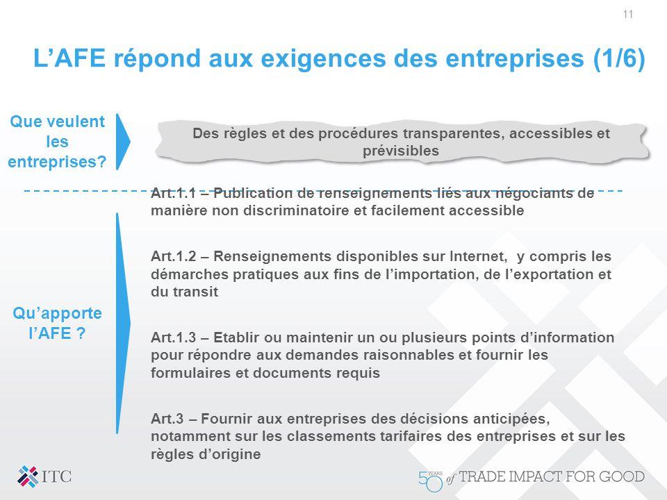 L'AFE répond aux exigences des entreprises (1/6)