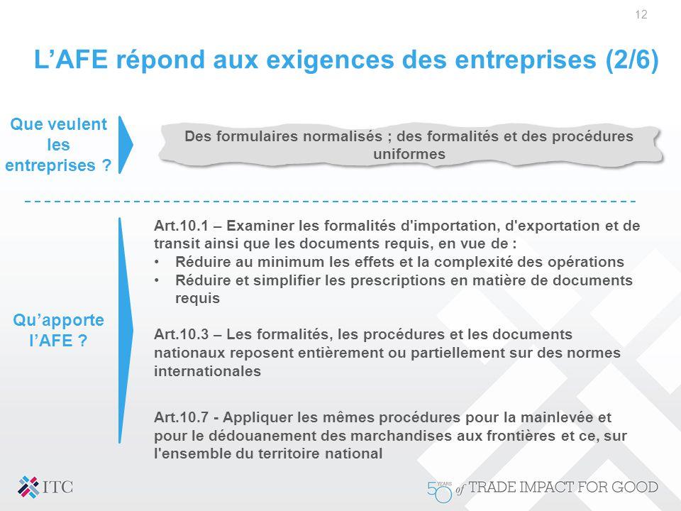 L'AFE répond aux exigences des entreprises (2/6)