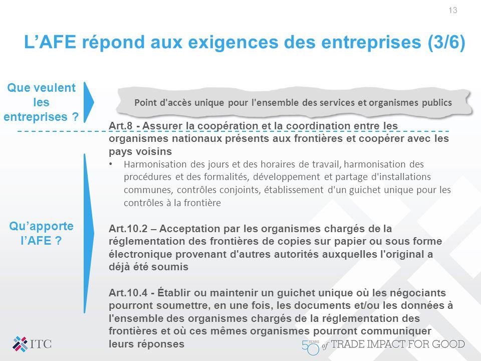 L'AFE répond aux exigences des entreprises (3/6)