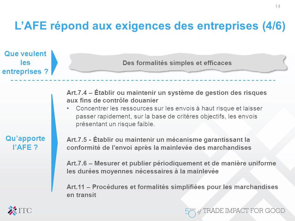 L'AFE répond aux exigences des entreprises (4/6)