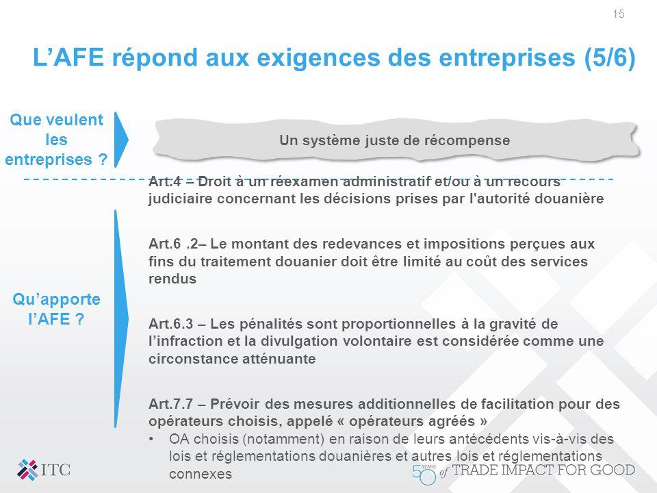 L'AFE répond aux exigences des entreprises (5/6)