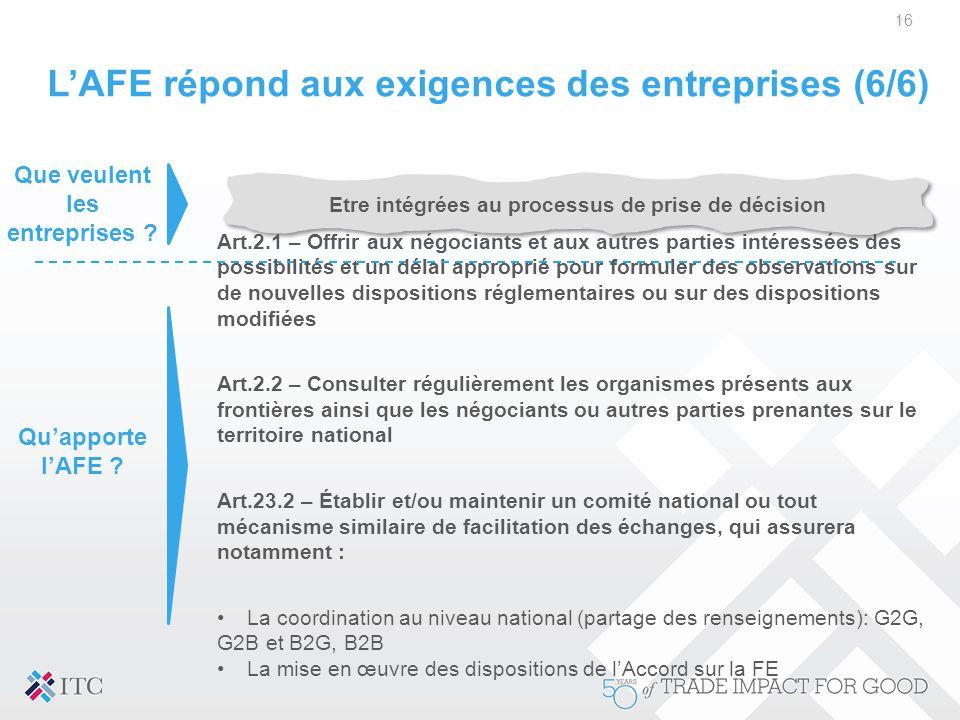 L'AFE répond aux exigences des entreprises (6/6)