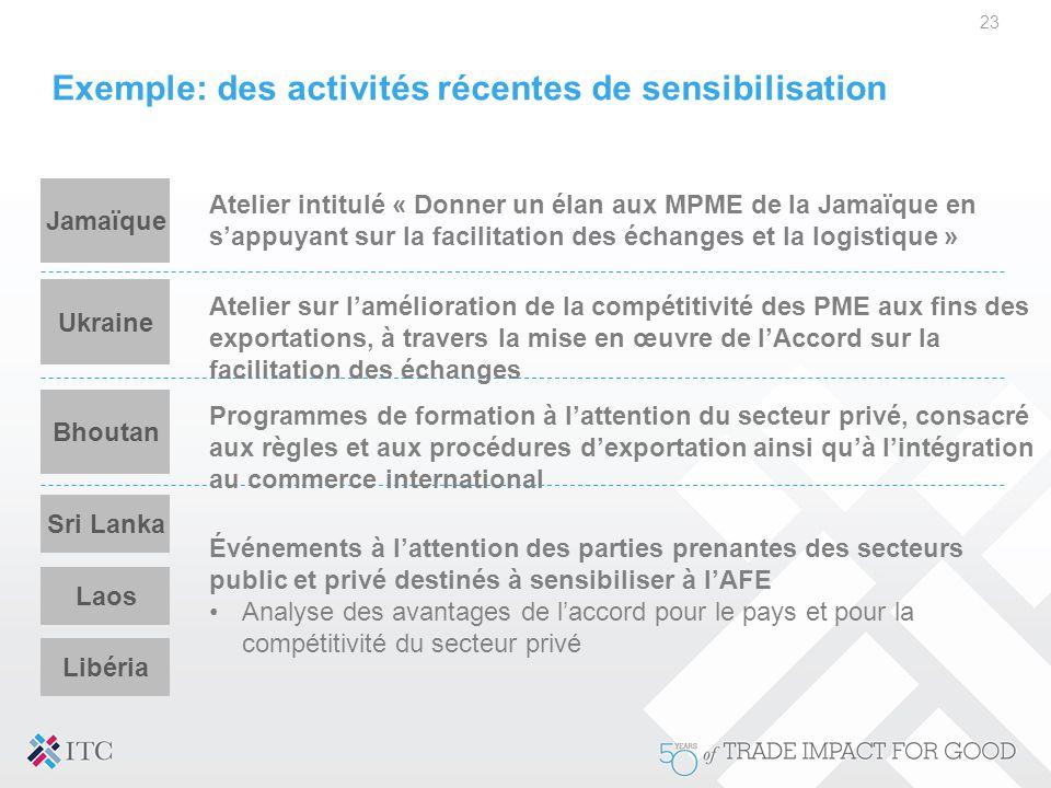 Exemple: des activités récentes de sensibilisation