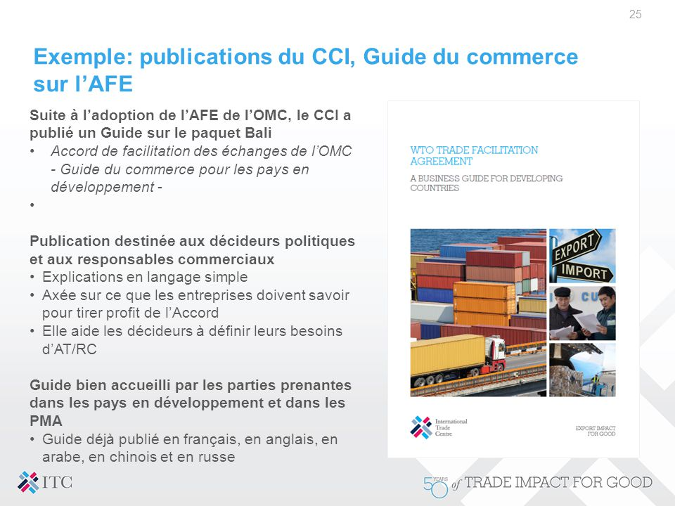 Exemple: publications du CCI, Guide du commerce sur l'AFE
