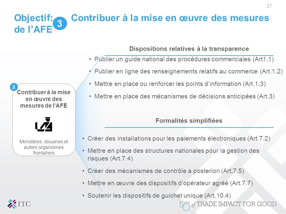 Objectif: Contribuer à la mise en œuvre des mesures de l'AFE