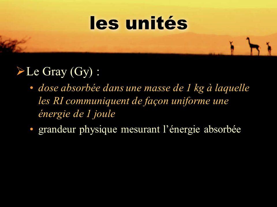 les unités Le Gray (Gy) :