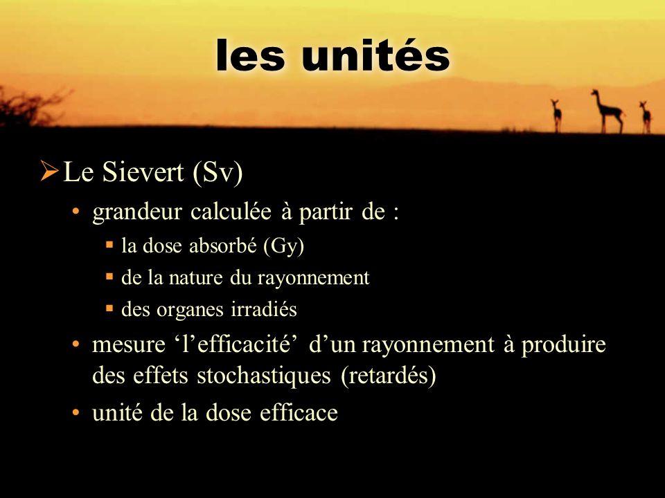 les unités Le Sievert (Sv) grandeur calculée à partir de :
