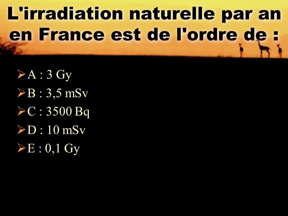 L irradiation naturelle par an en France est de l ordre de :
