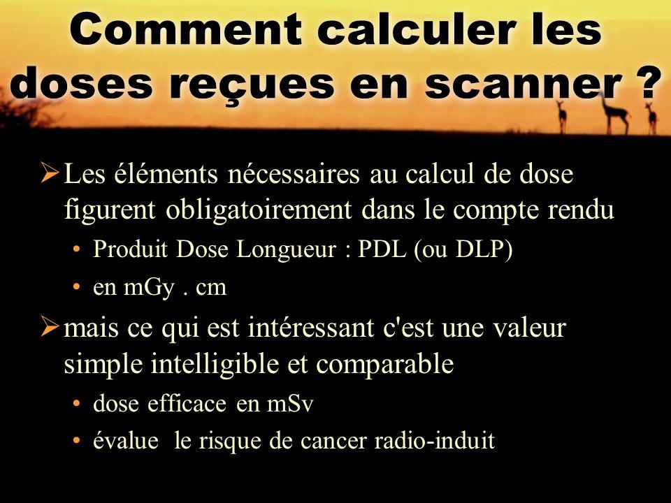Comment calculer les doses reçues en scanner