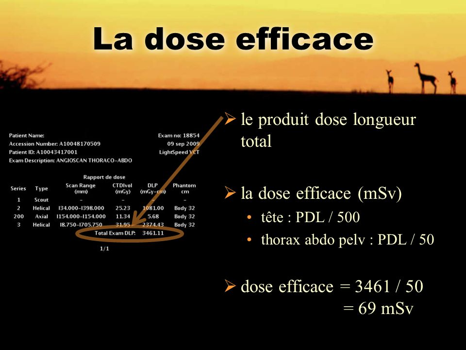 La dose efficace le produit dose longueur total la dose efficace (mSv)