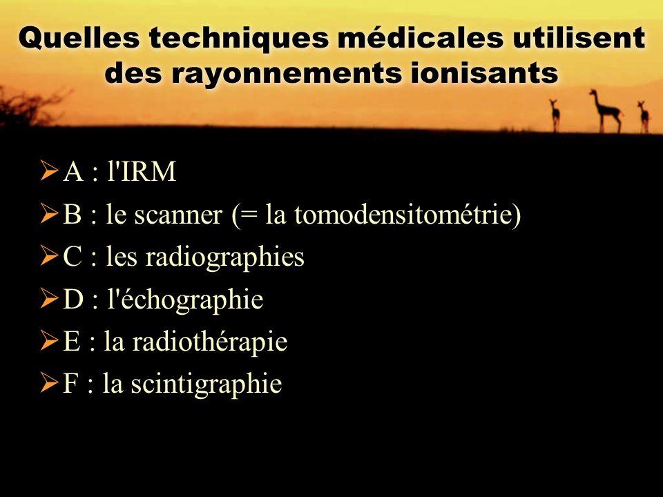 Quelles techniques médicales utilisent des rayonnements ionisants