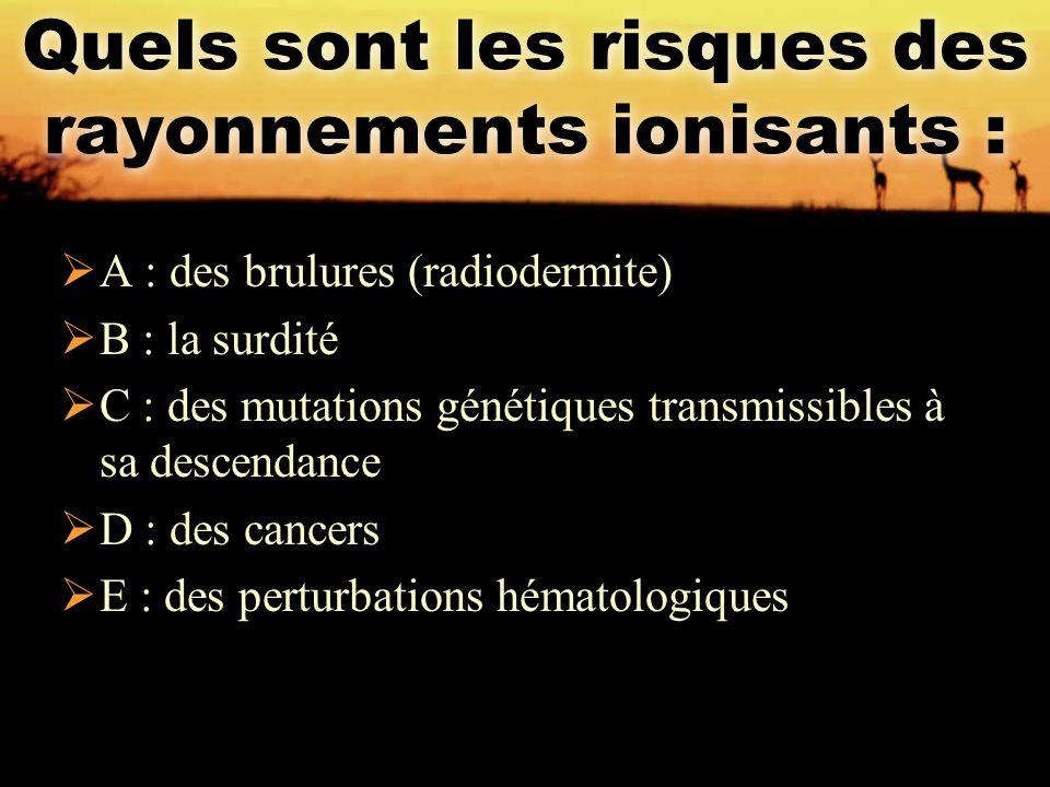 Quels sont les risques des rayonnements ionisants :