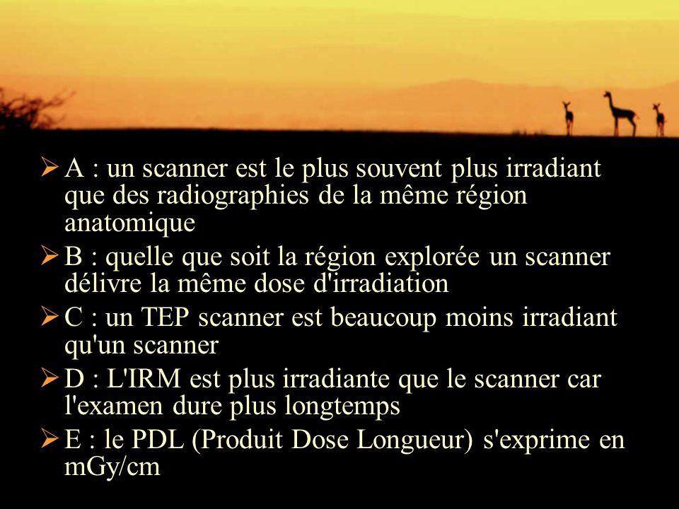 A : un scanner est le plus souvent plus irradiant que des radiographies de la même région anatomique