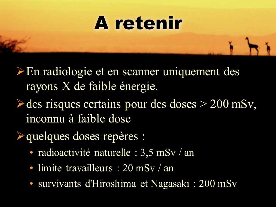 A retenir En radiologie et en scanner uniquement des rayons X de faible énergie.