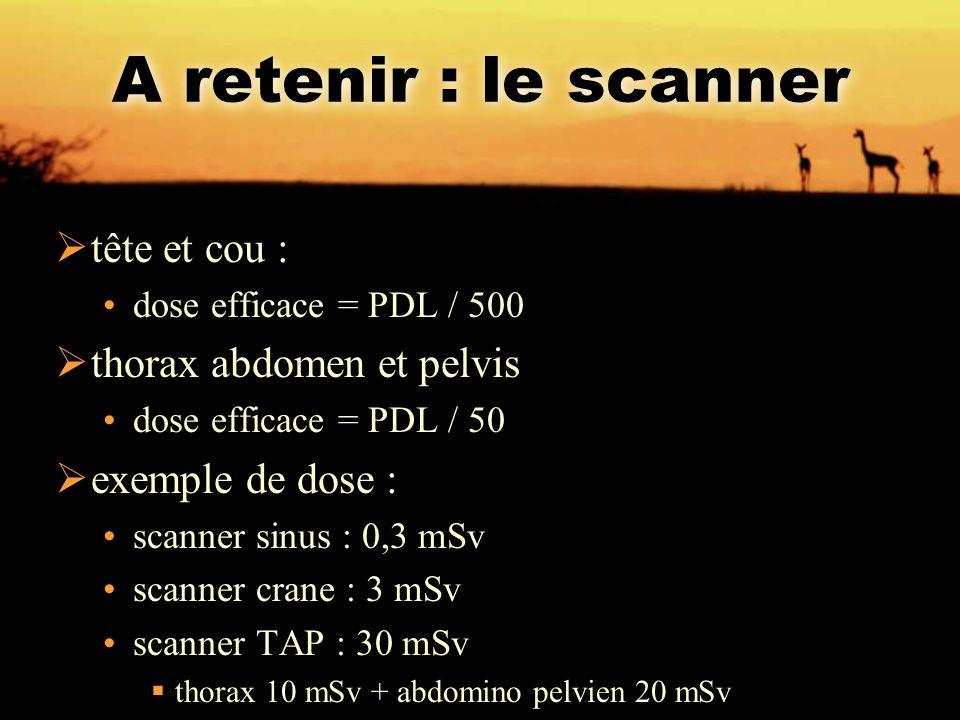 A retenir : le scanner tête et cou : thorax abdomen et pelvis