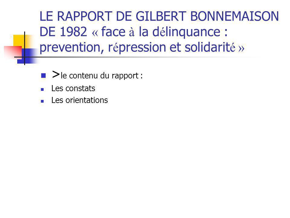 >le contenu du rapport :