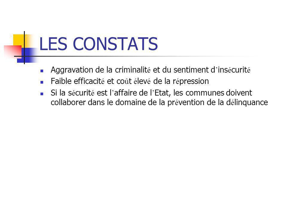 LES CONSTATS Aggravation de la criminalité et du sentiment d'insécurité. Faible efficacité et coût élevé de la répression.