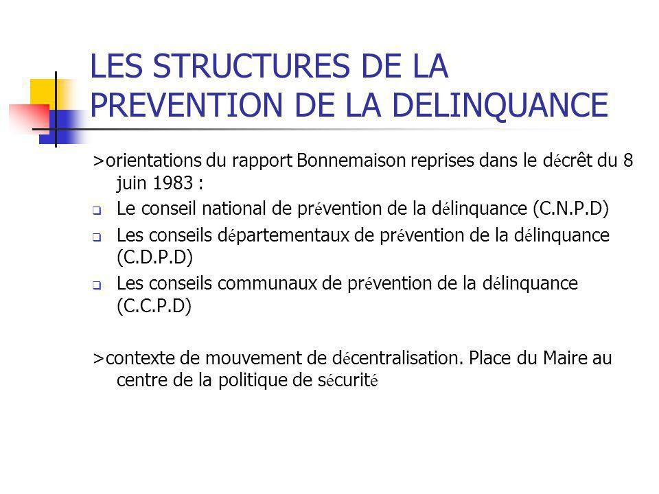 LES STRUCTURES DE LA PREVENTION DE LA DELINQUANCE