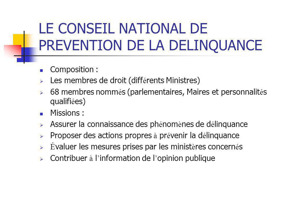 LE CONSEIL NATIONAL DE PREVENTION DE LA DELINQUANCE