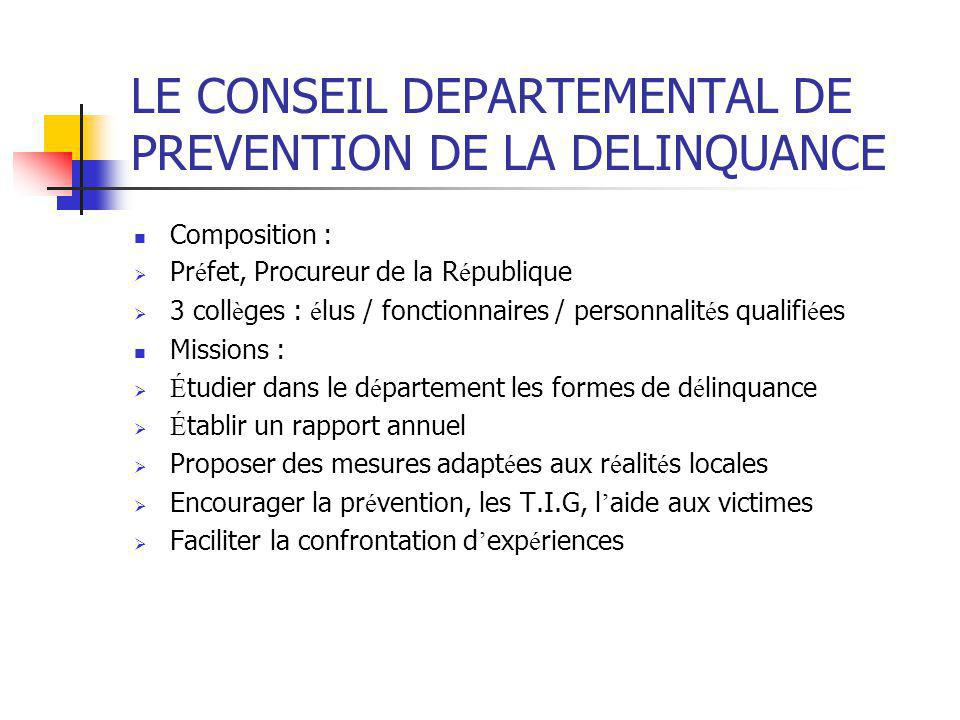 LE CONSEIL DEPARTEMENTAL DE PREVENTION DE LA DELINQUANCE