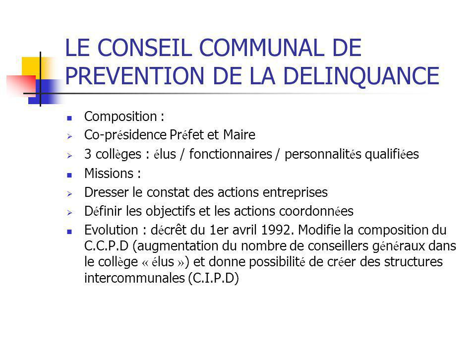 LE CONSEIL COMMUNAL DE PREVENTION DE LA DELINQUANCE