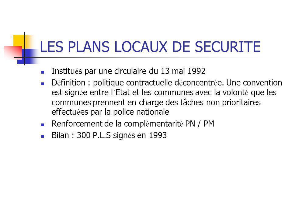 LES PLANS LOCAUX DE SECURITE