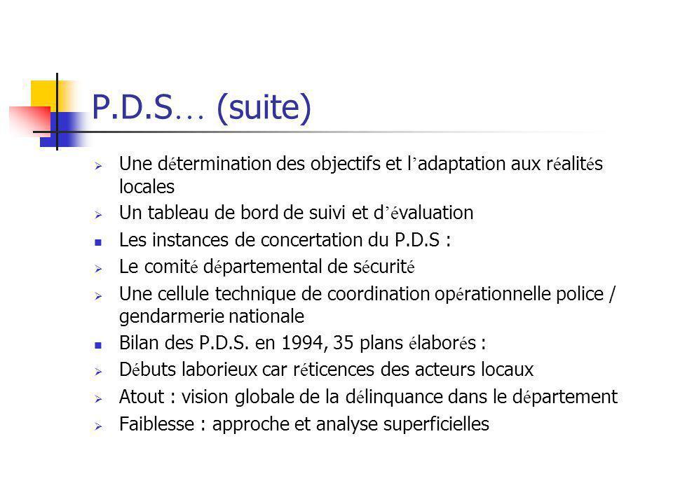 P.D.S… (suite) Une détermination des objectifs et l'adaptation aux réalités locales. Un tableau de bord de suivi et d'évaluation.