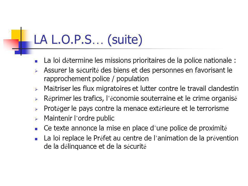 LA L.O.P.S… (suite) La loi détermine les missions prioritaires de la police nationale :