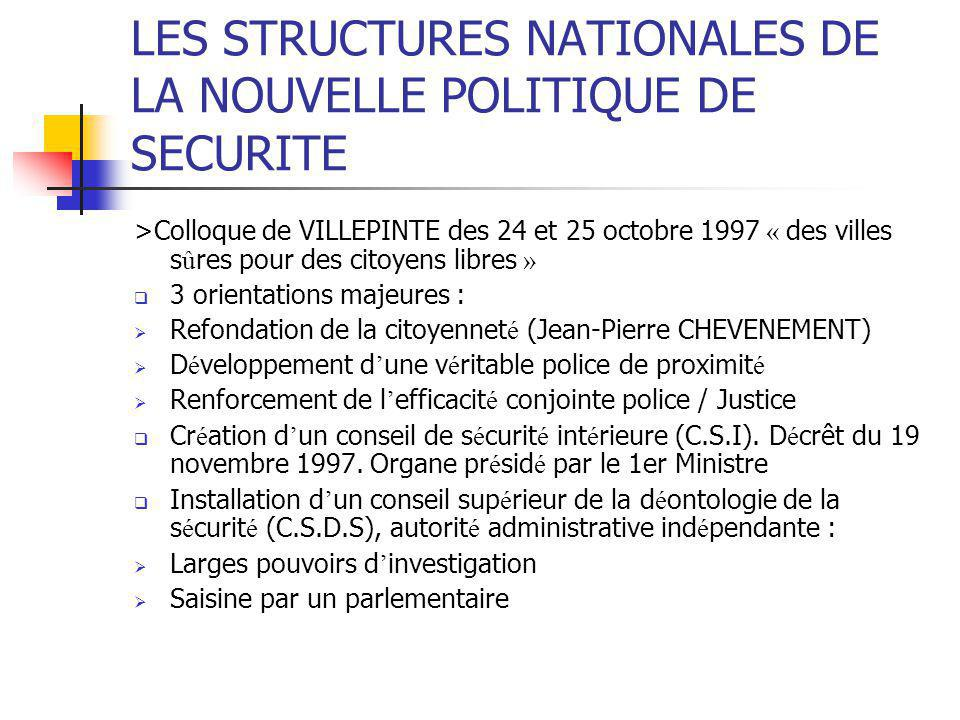 LES STRUCTURES NATIONALES DE LA NOUVELLE POLITIQUE DE SECURITE