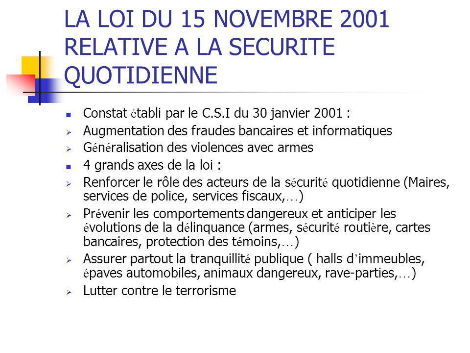 LA LOI DU 15 NOVEMBRE 2001 RELATIVE A LA SECURITE QUOTIDIENNE