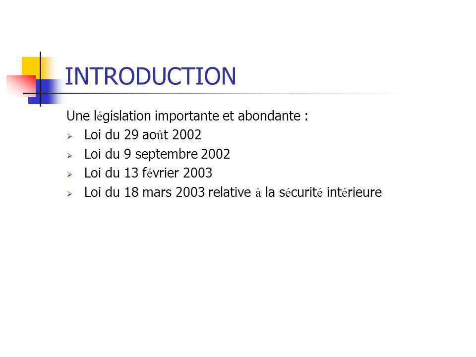 INTRODUCTION Une législation importante et abondante :