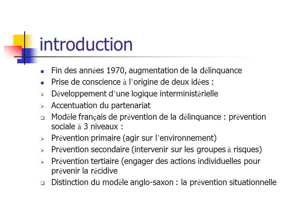 introduction Fin des années 1970, augmentation de la délinquance