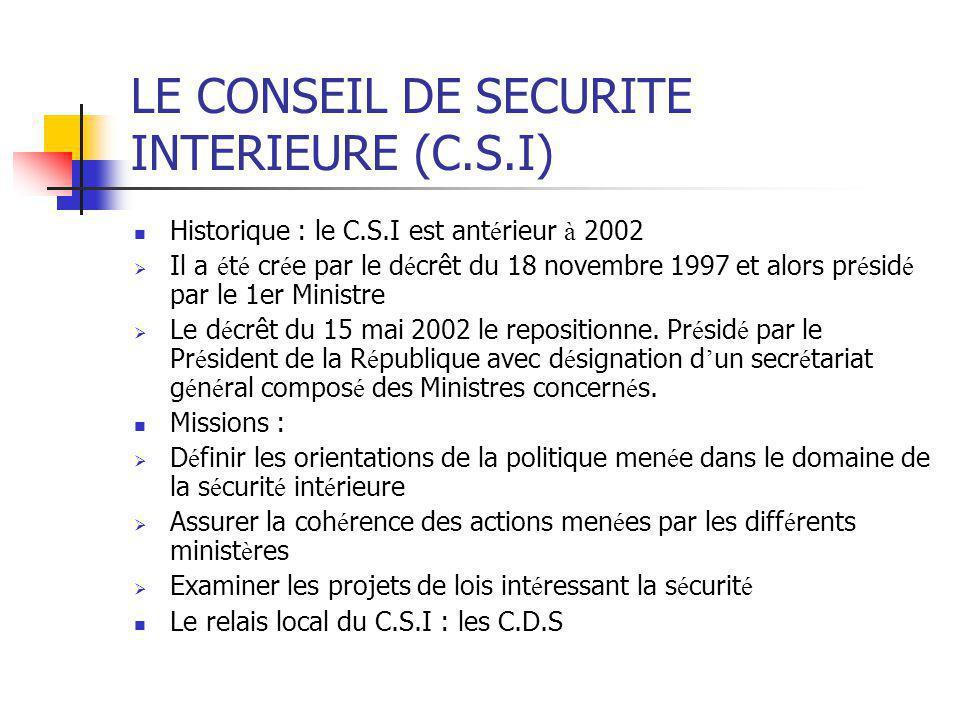 LE CONSEIL DE SECURITE INTERIEURE (C.S.I)