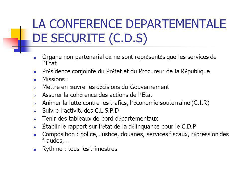 LA CONFERENCE DEPARTEMENTALE DE SECURITE (C.D.S)