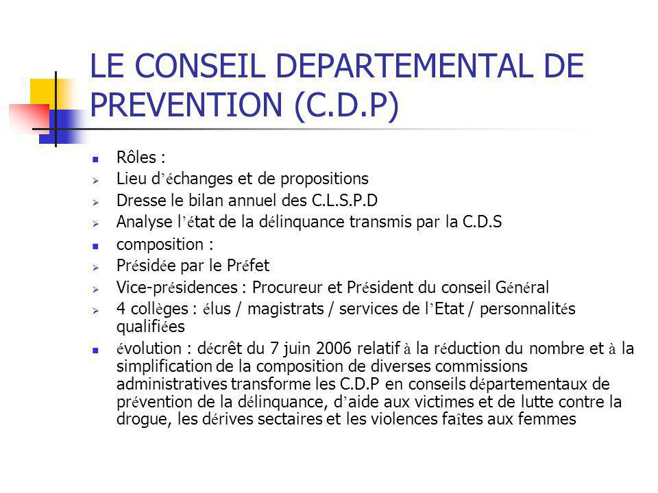LE CONSEIL DEPARTEMENTAL DE PREVENTION (C.D.P)