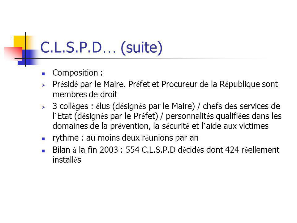 C.L.S.P.D… (suite) Composition :