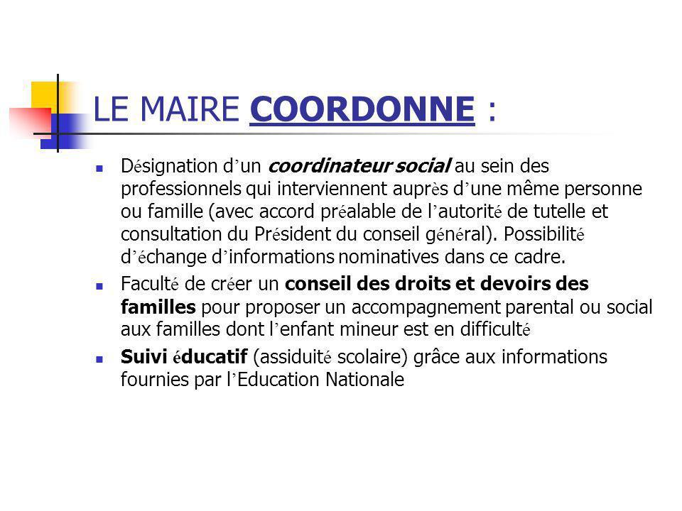 LE MAIRE COORDONNE :