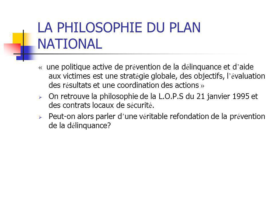 LA PHILOSOPHIE DU PLAN NATIONAL