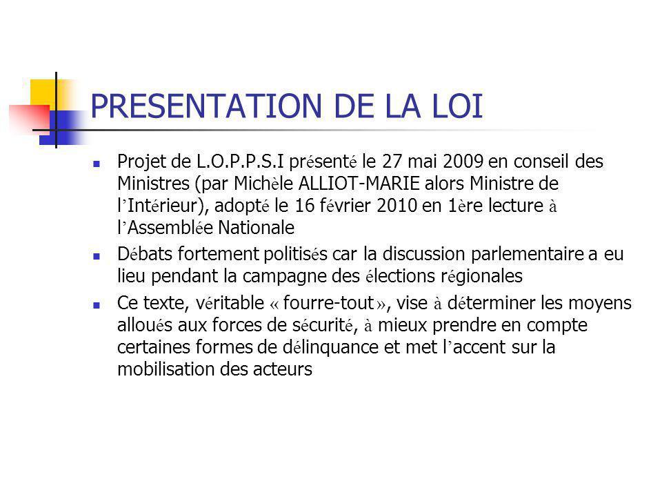 PRESENTATION DE LA LOI