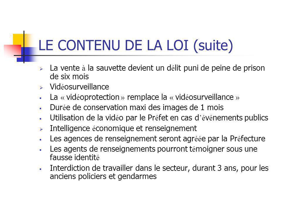 LE CONTENU DE LA LOI (suite)