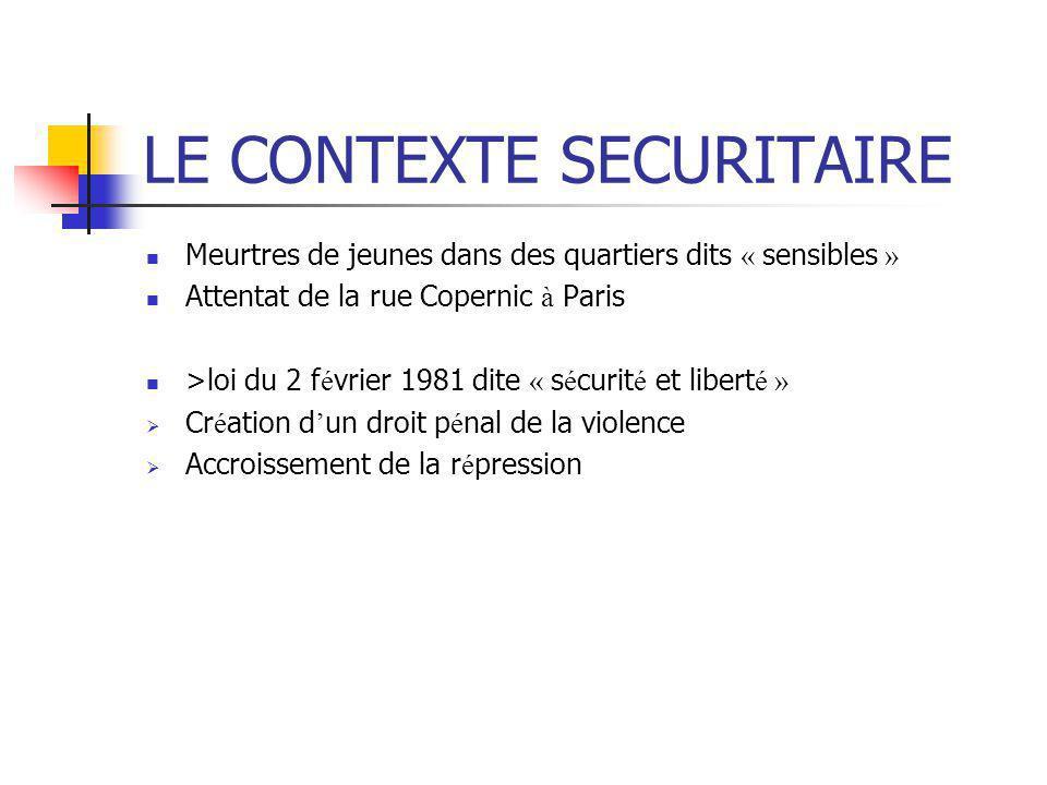 LE CONTEXTE SECURITAIRE